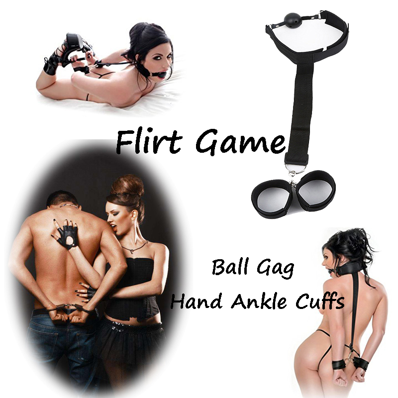 Adult Hand Ankle Cuffs Strap Anti-cuff With Mouth Ball Kit