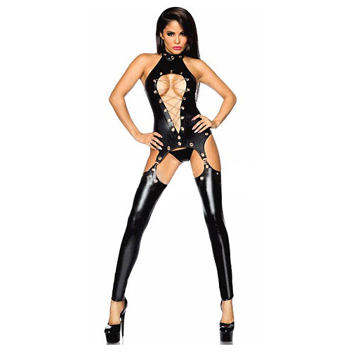 Sexy Lingerie Uniform Tempting Patent Leather