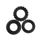 3pcs/Set Silicone Cock Ring In Black