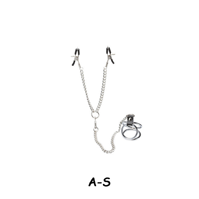 SM Nipple Clamps With Penis Ring