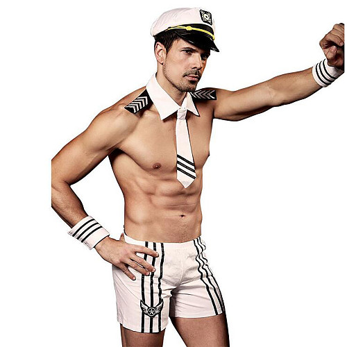 Sexy Male White Navy Outfit