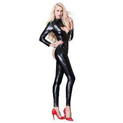 Patent Leather Straps Temptation Tight Bodysuit