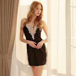 Deep V Mesh Temptation High Elastic Silk Slip Dress