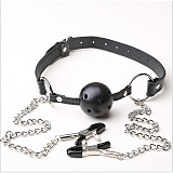 Flirt Games Mouth Gag Ball With Metal Nipple Clamps