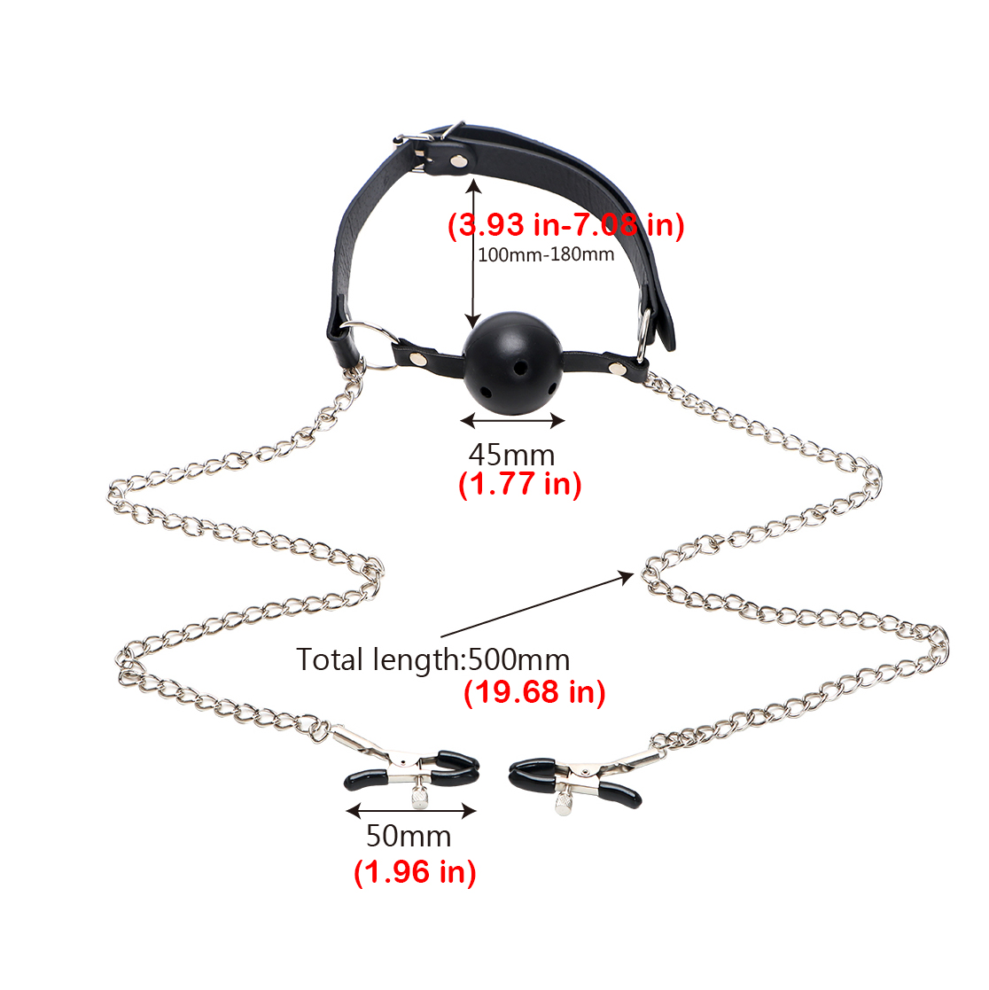 Mouth Gag Ball With Metal Nipple Clamps