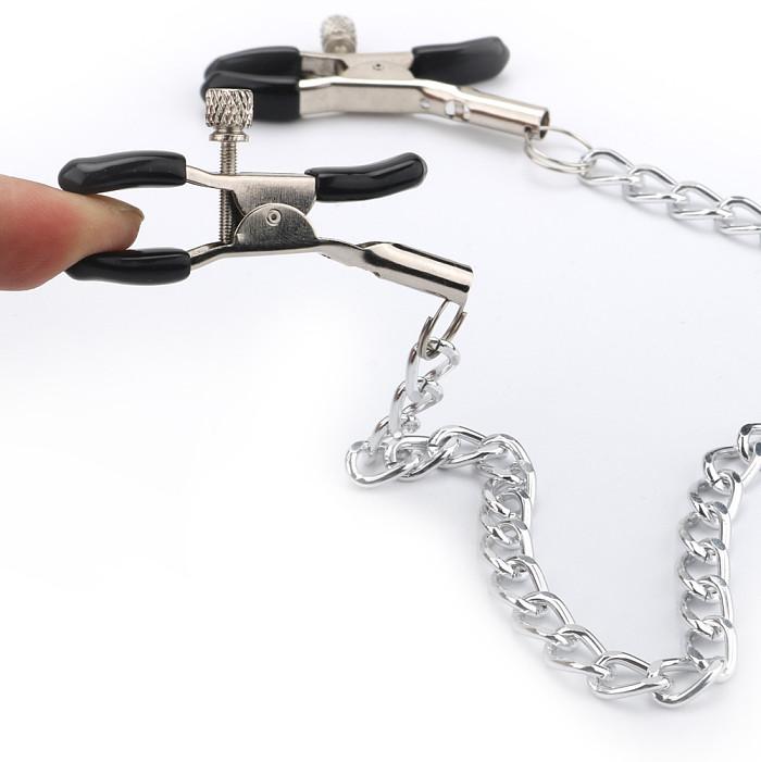 Smooth Slick Nipple Clamps Metal Chain