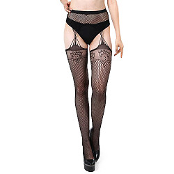 Flowers Lace Crotchless Suspenderhose