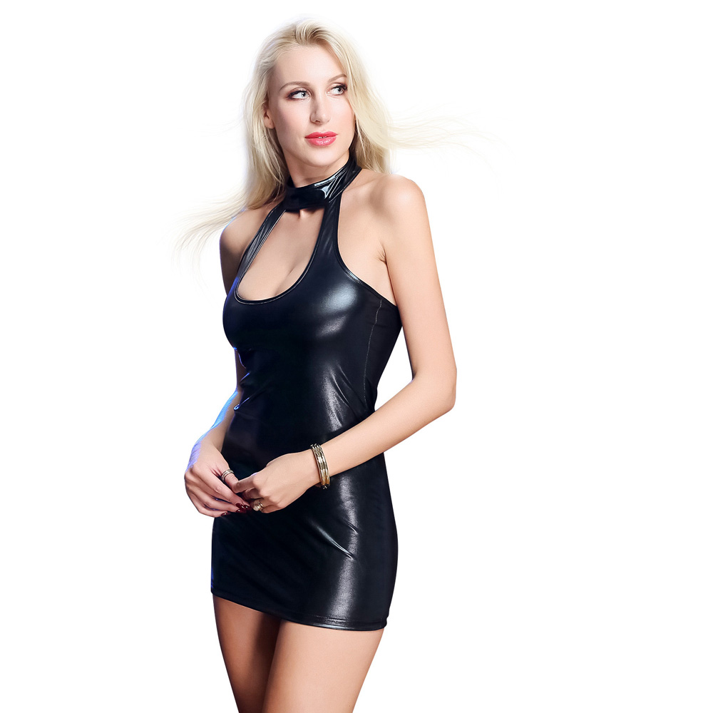 Leather High Elastic Sexy Dress_Black