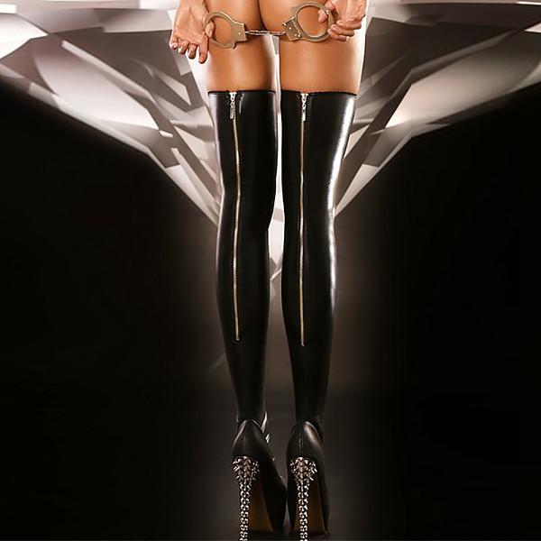 Leather Sexy Zipper Socks