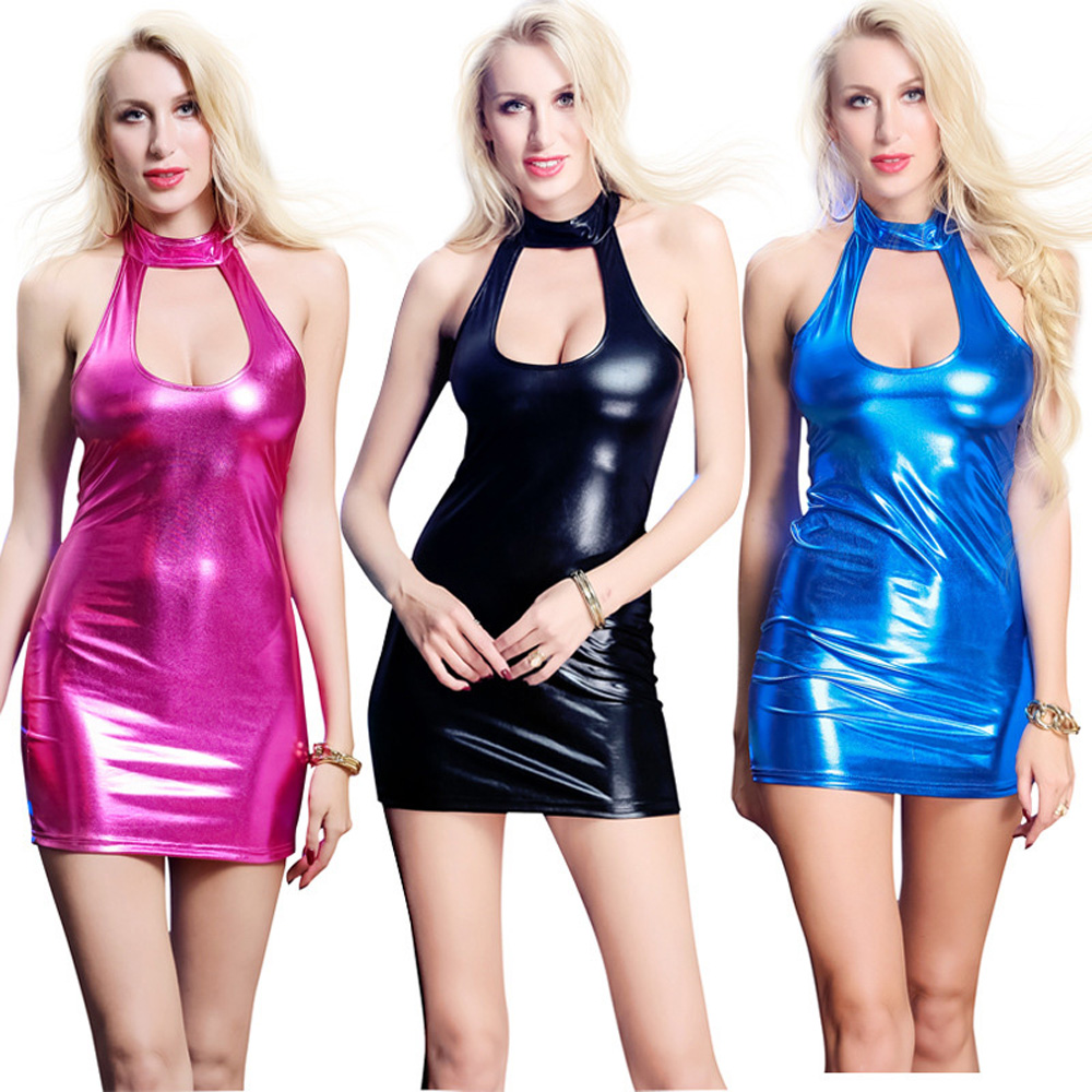 Leather High Elastic Multicolor Sexy Dress
