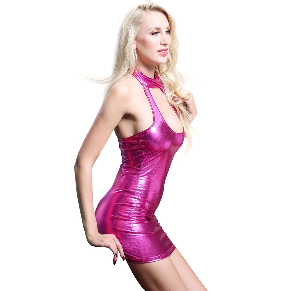 Leather High Elastic Sexy Dress_pink