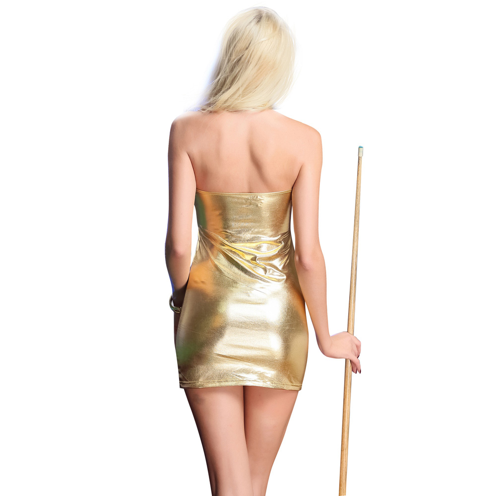 Leather High Elastic Sexy Dress_Gold