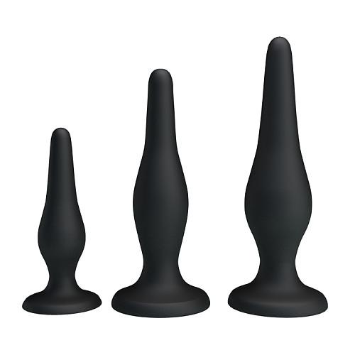 Suction Base Silicone Anal Butt Plug 3pcs/set