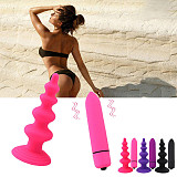 10 Speed Vibrator Anal Plug Beads Dildo G-Spot Silicone Suction Cup Sex Toy