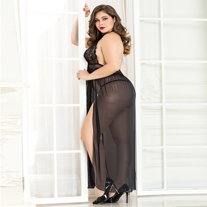 Large size lady sexy lingerie long skirt with perspective emotional pajamas