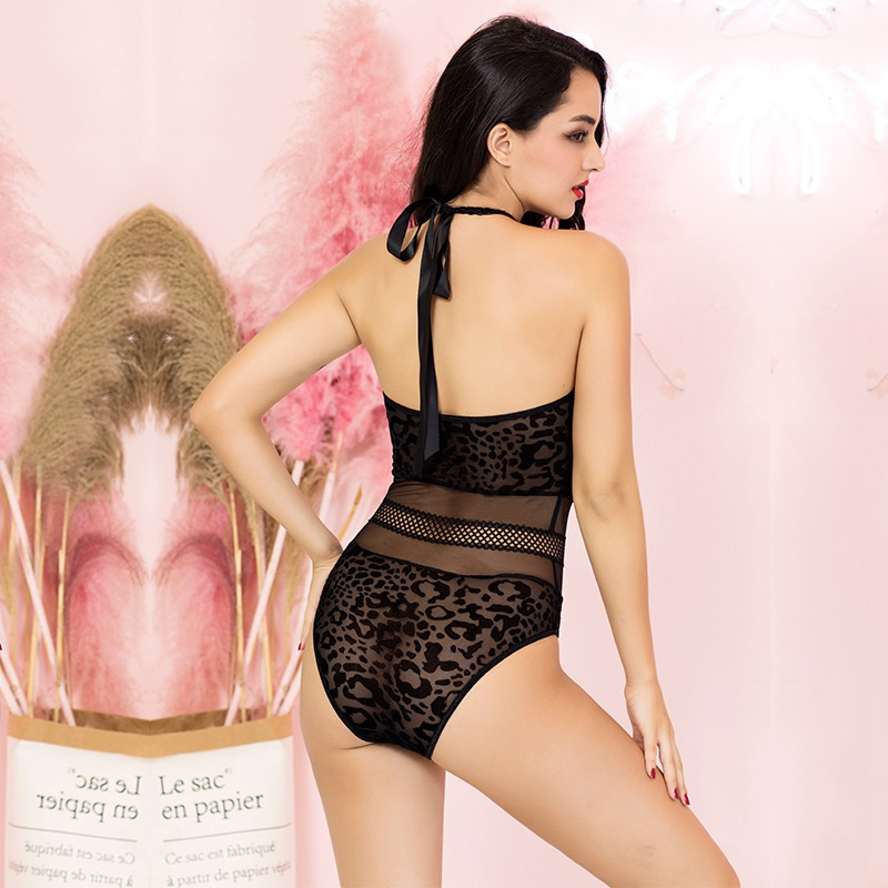 Ladies conjoined pajamas black perspective sexy lingerie