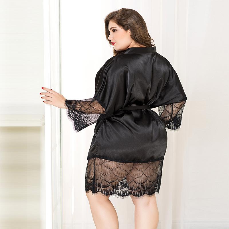 Large size lady sexy pajamas black lace sexy pajamas temptation