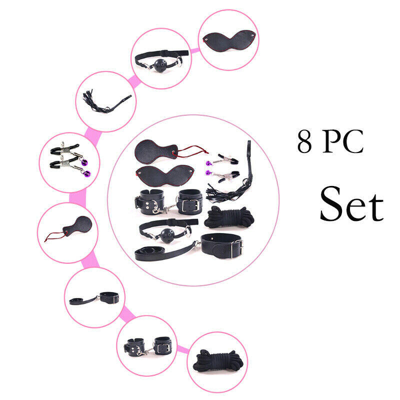 8pcs SM Bondage Restraints Set Kit Ball Gag Cuff Whip Eye Mask
