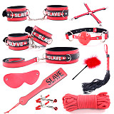 11pcs SM Bondage Restraints Set Kit Ball Gag Cuff Whip Eye Mask