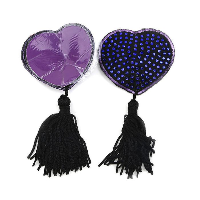 Pair of Heart Nipple Tassels Self Adhesive Breast Covers