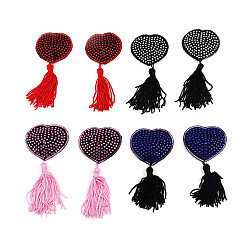 Pair of Heart Nipple Tassels Self Adhesive Breast Covers