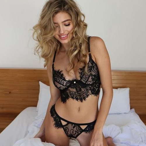 Sexy lingerie eyelash lace three point sexy suit