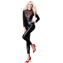 Power Wet Look Catsuit With Tulle Inserts