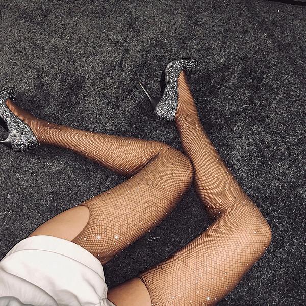 Rhinestone mesh four-way open pantyhose with diamonds