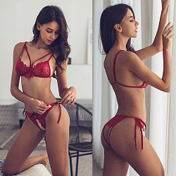 Red Lingerie Bra and G-String Set