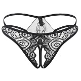 Sexy underpants open crotch black lace