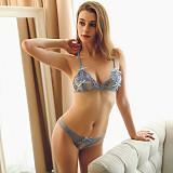 Blue peek-a-boo lace bralette