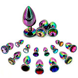 3 x Aluminum Plug with Clear Round Gem in Multicolor