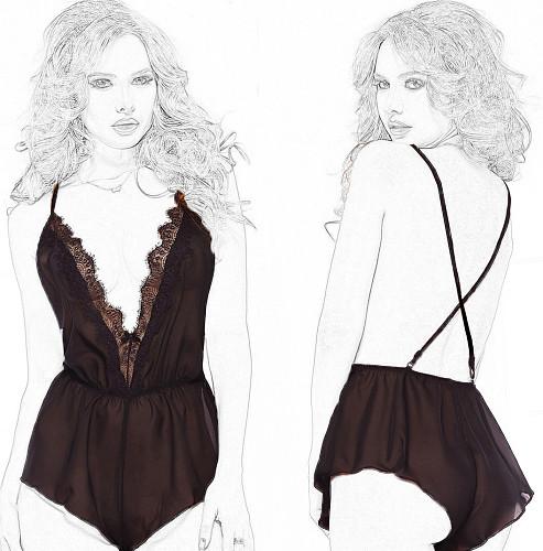 Nightdress, see-through mesh, connected sex, pajamas