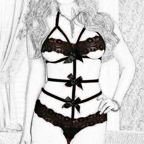 Sexy Lingerie Babydoll G-string Lace Bow Bra&Panty Set