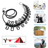 Kalevel Clothes Line Kit Outdoor Indoor Retractable Clothesline with 13 Black Stoppers and 12pcs Clothespins Portable Travel Elastic Clothesline for Travel Camping Hotel Home