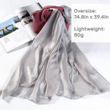 Kalevel Women Scarves Lightweight Shawl Wrap Solid Color Polyester Large Scarf
