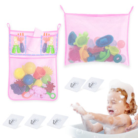 Kalevel 2 Pack Mesh Bath Toy Organizer Holder Bathtub Net Organizer Kids Baby Bathroom Shower Toy Storage Holder Caddy Bag for Soap, Shampoo, Toothpaste with Adhesives Hooks (Pink)