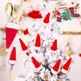 Kalevel 36pcs Mini Christmas Hat Red Silverware Holders Mini Santa Hat Cup Bottles Cover Christmas Tableware Knife Fork Holder Ornaments Decor Gifts with Luggage Stickers