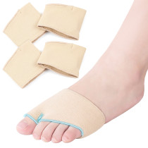Metatarsal Pads for Men Women - Kalevel 2 Pairs Ball of Foot Cushions Metatarsal Sleeve Pads Half Toe Bunion Sleeve Gel Forefoot Cushion for Metatarsalgia Calluses Blister (Beige, L)