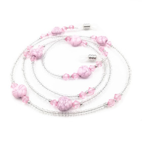 Kalevel Eyeglass Chain Eyeglass Holder Beaded for Women (Pink)