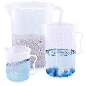 Kalevel 3pcs Plastic Measuring Cup Lab Kitchen Large Beakers 500ml 2000ml 5000ml Measuring Jug for Measure Liquid Baking Item (C Set)