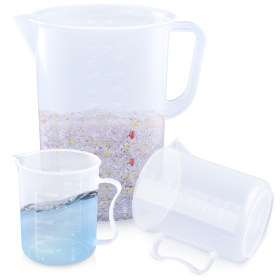 Kalevel Measuring Pitcher Plastic Graduated Cups 500ml 1000ml 5000ml Large Beaker Set of 3 with Handle and Pouring Spout (B Set)