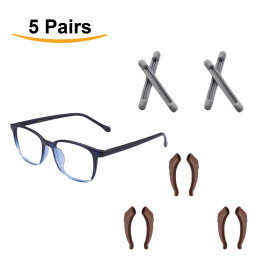 Kalevel 5 Pairs Anti Slip Glasses Ear Hook with Eyeglass Pads Comfortable Eyewear Ear Hook and Eyewear Ear Pad for Working, Daily Life and Outdoor Activities