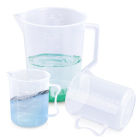Kalevel 3 Sizes Measuring Cups Clear Plastic Graduated Beaker Pitcher 500ml 1000ml 3000ml with Pour Spout and Handle (A Set)