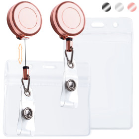 Kalevel 4pcs Retractable Badge Holder Reel with ID Plastic Badge Holder Vertical Horizontal  Clear 1.1in (Rose Gold)