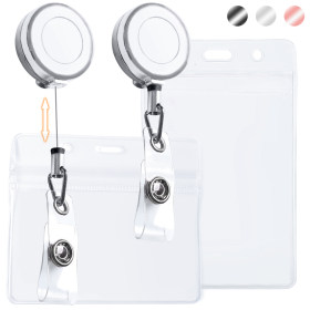 Kalevel 4pcs Badge Holder Reel Clip Retractable with Name Tag Plastic ID Card Holder Horizontal Clear Vertical (Silver)