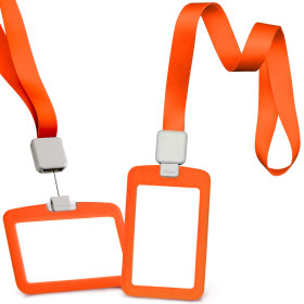 Kalevel Set of 4 Retractable Lanyards with Vertical ID Card Holder Horizontal Water Resistant Badge Holder (Orange)
