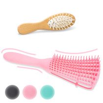 Kalevel Detangling Hair Detangler Comb for Wet Hair with Small Travel Wooden Hair Comb (Pink)