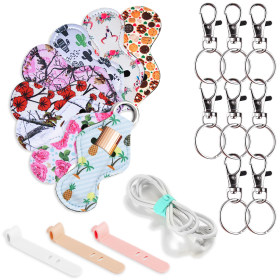 Kalevel 8pcs Lip Balm Holder Keychain Lipstick Sleeve with 8pcs Metal Clip Cords and 4pcs Silicone Fastening Cable Strap (A Set)
