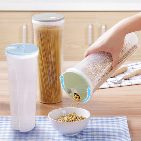Kalevel 3 Pack Spaghetti Noodle Container Plastic Pasta Canisters Clear Dry Goods Cereal Food Storage Boxes with Lid for Pantry Kitchen